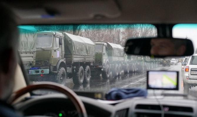 ВОБСЕ показали военную колонну, вошедшую вЛуганск