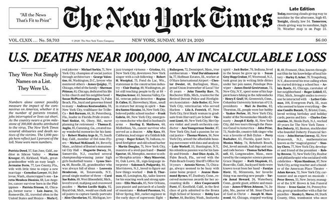 New York Times вышла с именами жертв COVID-19 на первой полосе