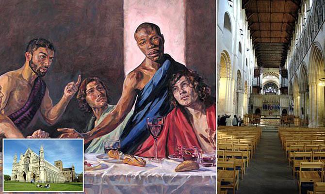 В британском соборе повесили «Тайную вечерю» с темнокожим Христом