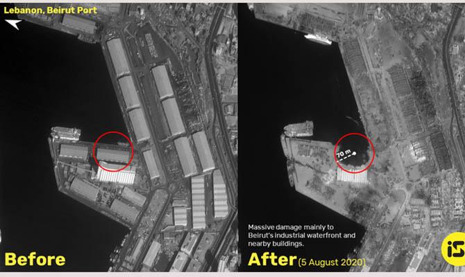 Фото последствий взрыва в Бейруте показали из космоса