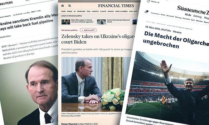Практически все мировые сми написали о незаконном закрытии «112 Украина», Newsone и Zik, а также о санкциях против оппозиционных депутатов Медведчука и Козака